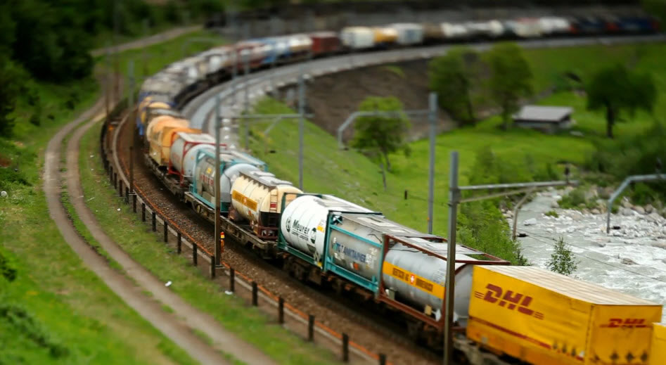 Tilt shift train photography makes real trains look like models