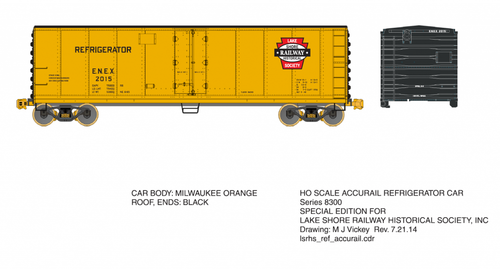 Lake Shore Railway Historical Society HO Scale Refrigerator Car