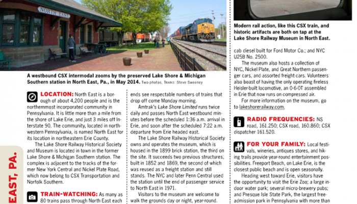 Lake Shore Railway Museum in January 2015 Trains Magazine