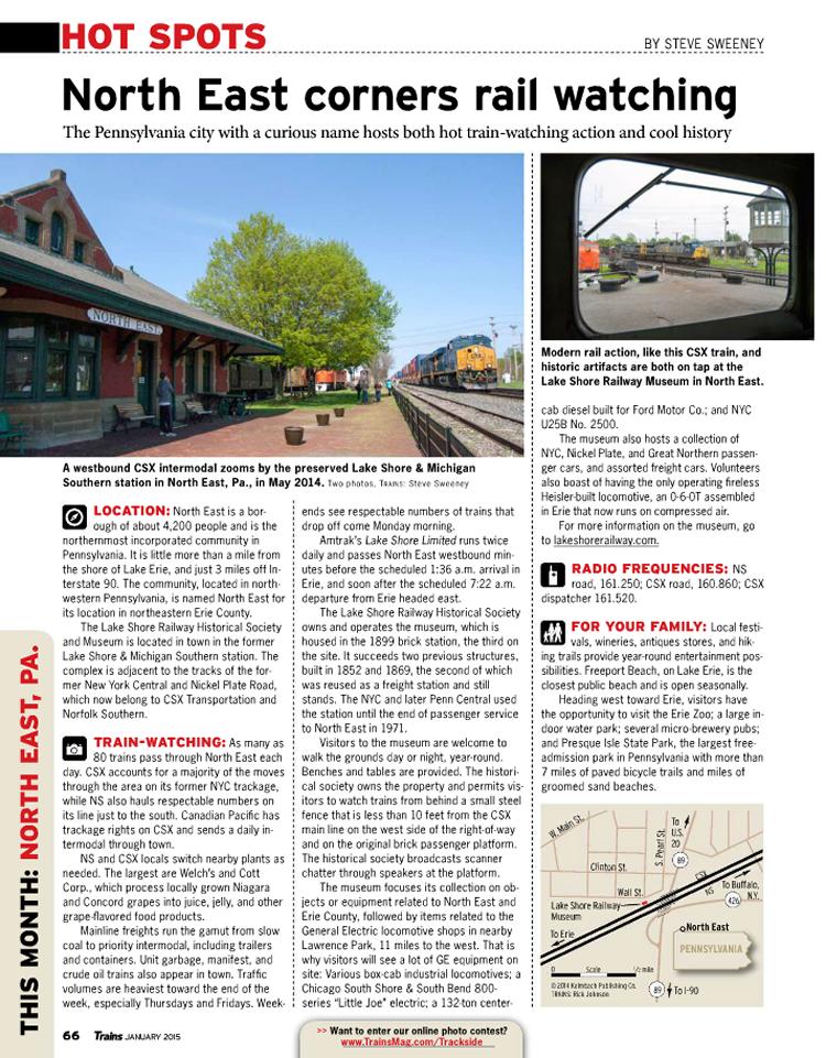 Lake Shore Railway Museum in Trains Magazine