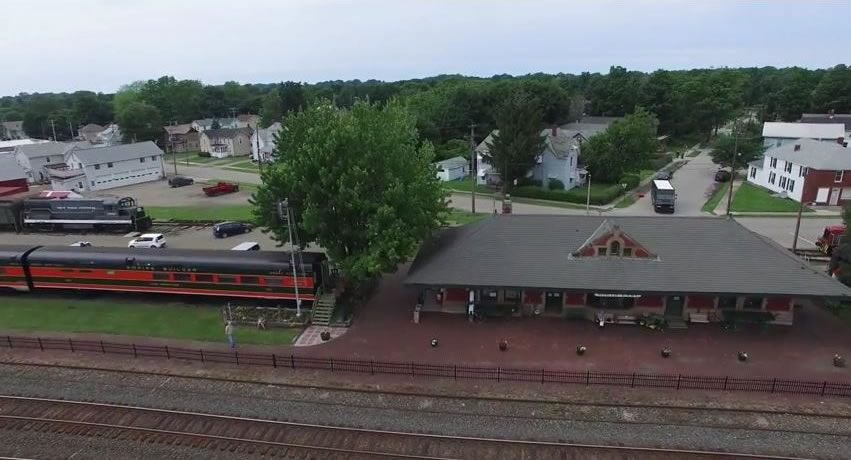 High definintion aerial drone footage of the Lake Shore Railway Museum by Ben Nagle