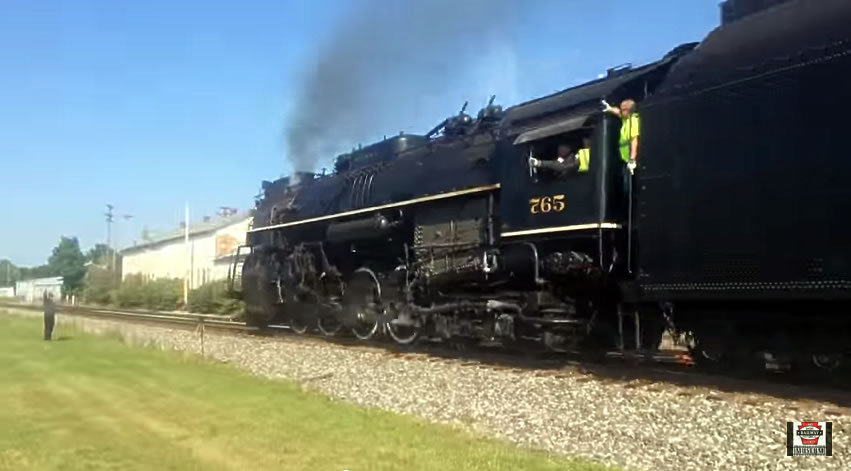 Nickel Plate 765 rolls by the Lake Shore Railway Museum