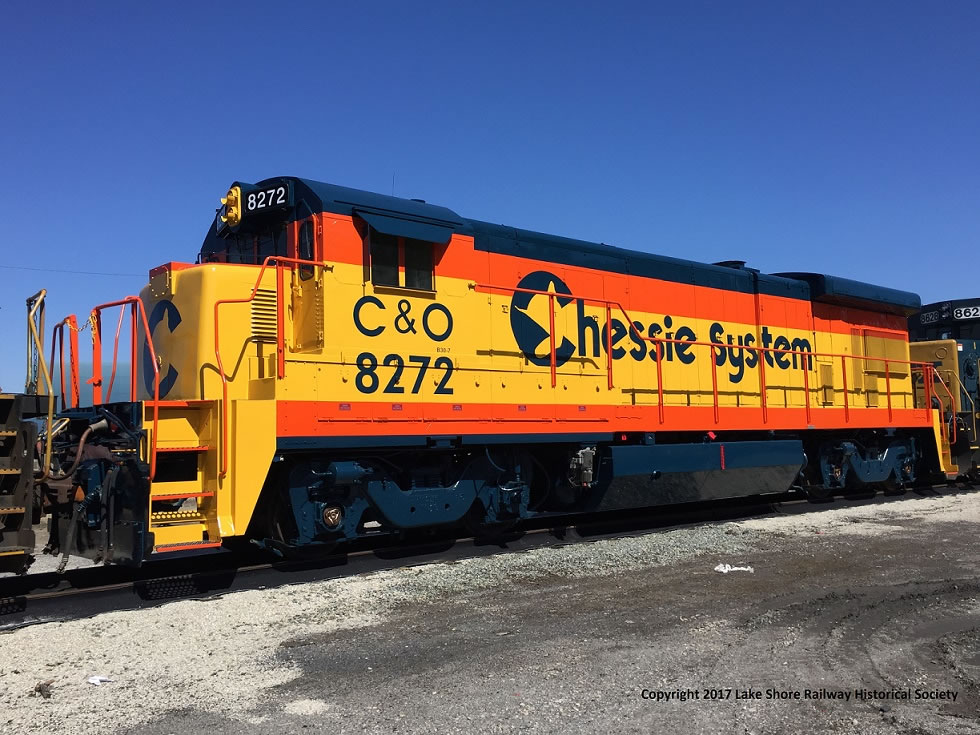 "<span class=""entry-title-primary"">Lake Shore Railway Historical Society Receives Restored Vintage  General Electric Dash-7 Locomotive</span> <span class=""entry-subtitle""> - CSX #5554 is restored as C&O #8272, plans for move to museum underway</span>"